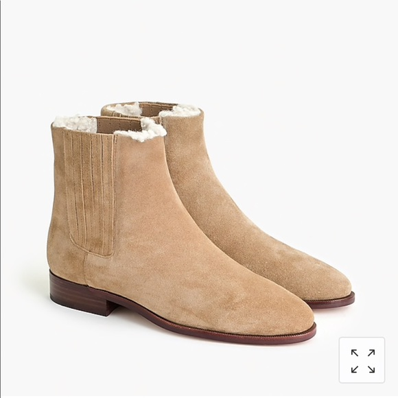 J. Crew Shoes - J.crew Sherpa lined Chelsea Boots in Suede